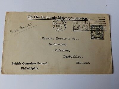 (C118) 1923 U.S.A COVER FROM BRITISH CONSULATE GENERAL PHILADELPHIA TO ENGLAND