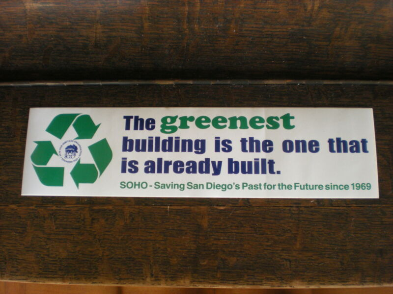 """The Greenest Building"" Historic Preservation-Environmentalist Bumper Sticker."