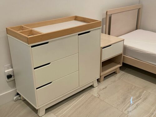 Babyletto SET Bed + nightstand +  Changer Washed Natural wood LOCAL PICKUP MIAMI