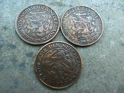 1 cent cuivre x 3 pays bas 1916-1917-1920