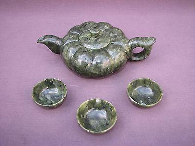 Chinese Carved Stone Tea Set Spinach Green Jade Gourd Pumpkin Teapot 3 Tea Cups