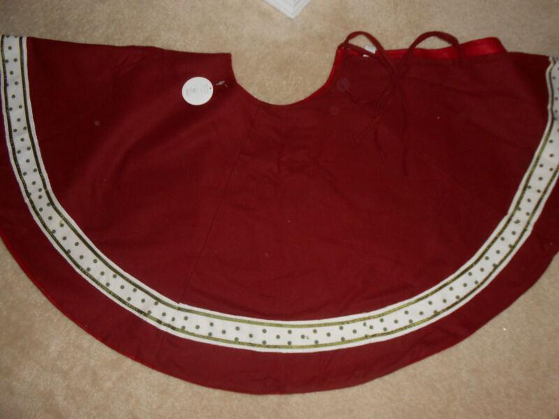 "Christmas Tree Skirt Green Beige Polka Dot Trim 54"" New Merry Wishes Demdaco"