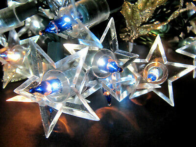 35 Vintage Christmas Clear Star Light Covers Midget Working String