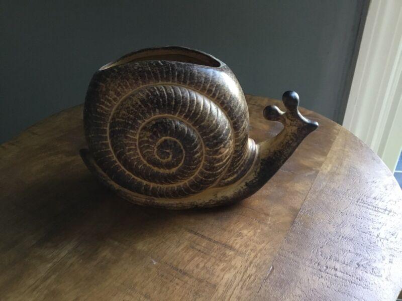 Vintage Ceramic Snail Planter/Vase Japanese Drip Glaze With Drain Plug