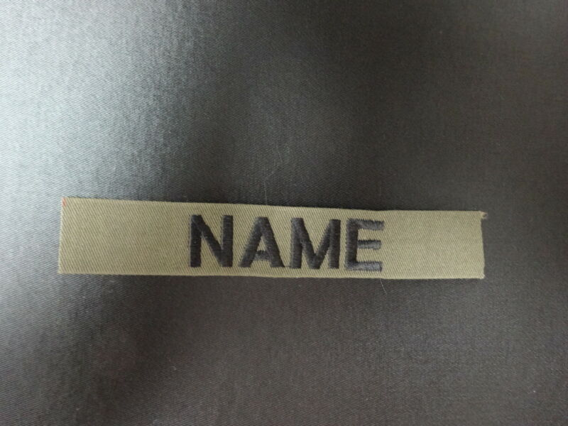 CUSTOM EMBROIDERED MILITARY STYLE NAME TAGS  olive drab, black or Khaki