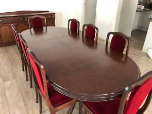 8 Seater Dining Room Suite In Good Condition Comes With Low Buffett And High Glass Display Cabinets Table Is 1850mm X 1000mm Can Be
