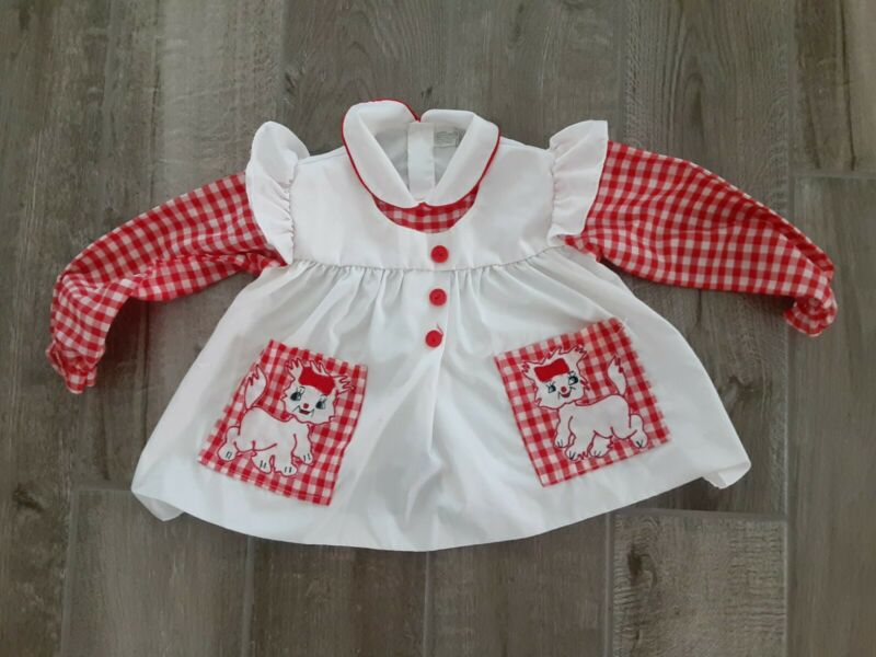 Vintage Girls Dress Long Sleeve Red White Puppy Checkered Size 2T 3T