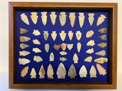 Vintage Native American Indian Arrowhead Collection; Framed; Qty. 50--Lot #1