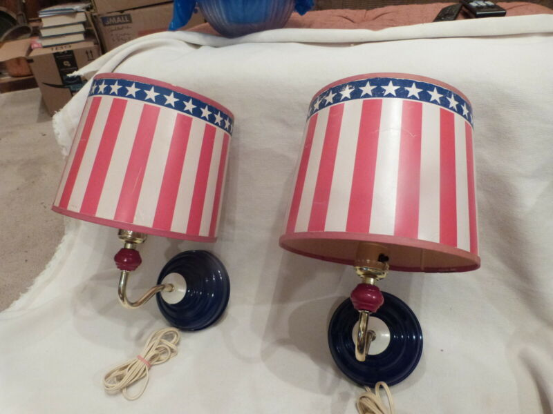 2 VINTAGE Red White Blue Stars Stripes Patriotic Flag Electric Wall Sconces