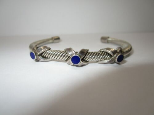 SIGNED SMW MEXICO 925 STERLING SILVER & LAPIS CUFF BRACELET  25 GRAMS