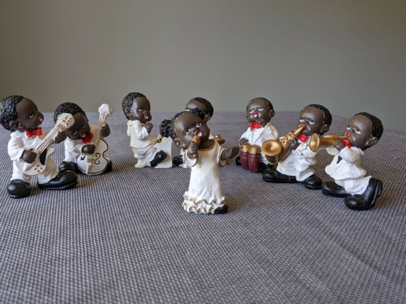 African-American children 8 person jazz band resin figurines