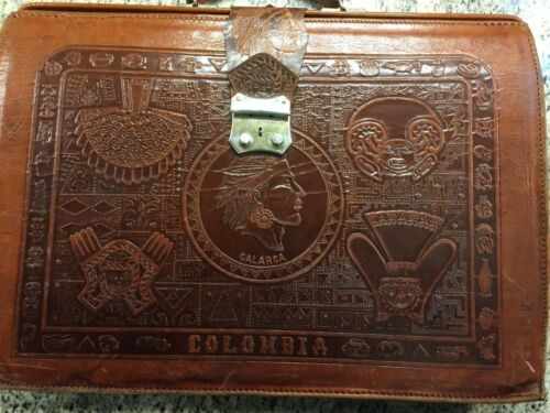 Vtg Colombian Indigenous Chief Calarca Tooled Leather Briefcase