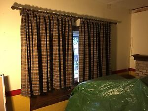 Lined Curtains - 2 sets with wooden rods, rings and brackets.