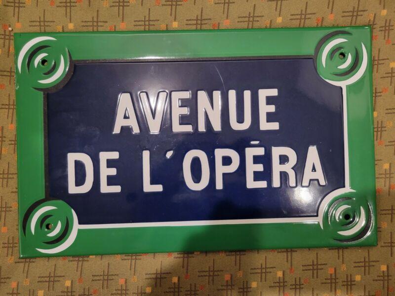Original Vintage Paris street sign french enamel porcelain Avenue de l