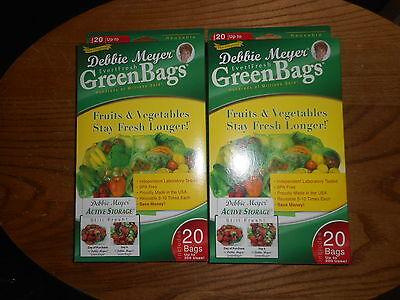 Debbie Meyer Green Bags Fruit & Vegetable Storage 20 Medium & 20 Large 2 Boxes Green Bag Fruit