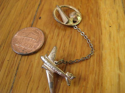 vintage 1939 NY Worlds Fair gold PIN World of Tomorrow plane airplane button old