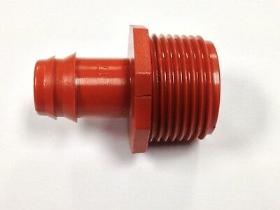 """17MM x 3/4"""" Male Pipe Adapter Barb Fitting 5 PACK, Drip Line Insert 0.54-0.65"""""""