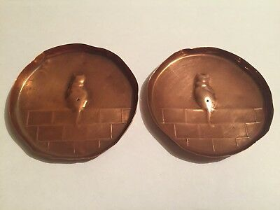 Pair Of Copper Pin Dish With Cat On Wall Antique Arts And Crafts Poss Hand Made