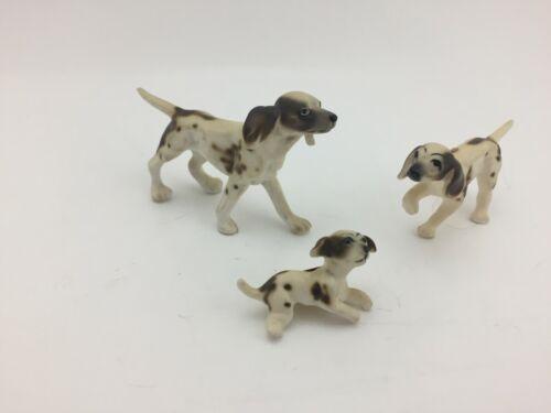 Vintage English Pointer Dog Miniature Figurines Bone China Japan Set Dollhouse