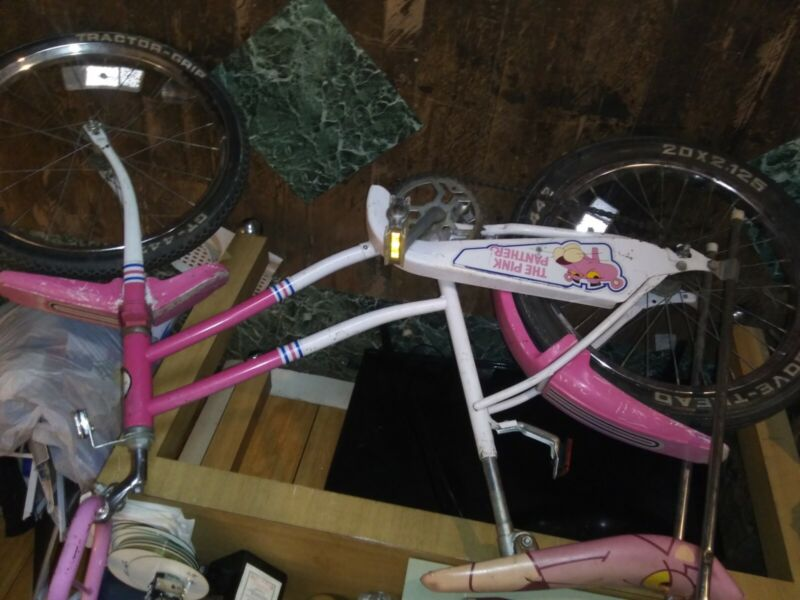 vintage pink panther bike pink and white