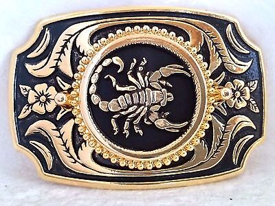 Scorpion Scorpio Zodiac Sign Gold Belt Buckle with Black Leather