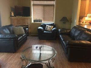 PRICE REDUCED: Classic Black Leather Couches- Set of 3