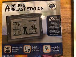 Atomic Clock Wireless Weather Forecast Station w/ Remote Sensor Outdoor NEW