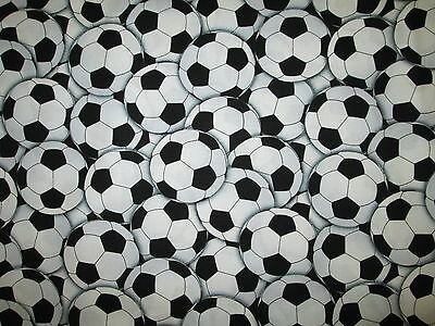 Soccer Ball Futbol Sports Olympics Overall Black White Cotton Fabric BTHY](Soccer Ball Fabric)