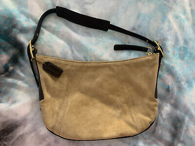 Coach Camel Suede Brown Leather Trim Bag MOD-9206 Purse Bucket Shoulder Bag