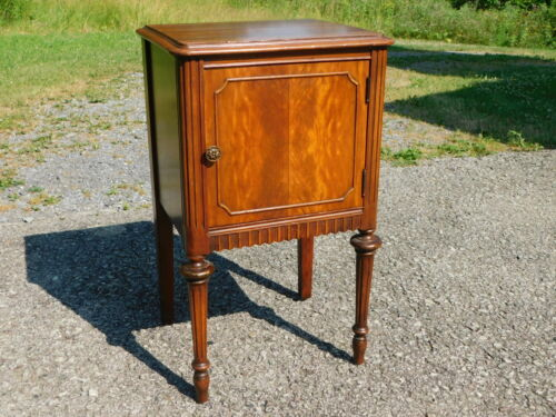 1930s Antique French Art Deco Era Flame Mahogany Chairside Smoke Stand End Table