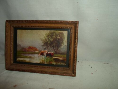 old picture frame, print- Cattle at Water, 6 1/2 by 4 1/2 inches, # 1348
