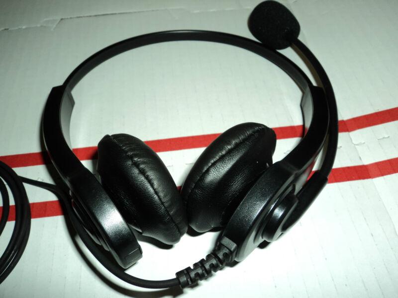 Dual Earphone HEADSET - HEAVY DUTY - Flexible Boom Mic Microphone MOTOROLA Radio