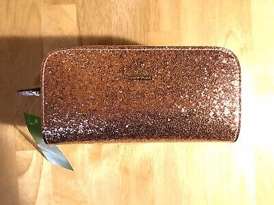 NWT Kate Spade Ezra Rose Gold Glitter Bug Cosmetic Bag (Retail $60)