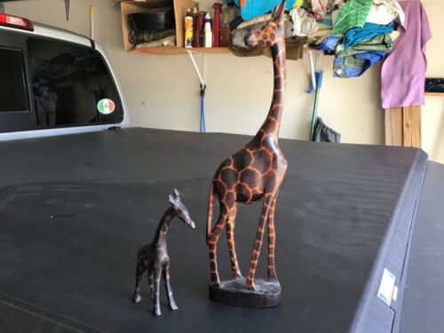 CARVED AFRICAN WOODEN GIRAFFES (TWO)