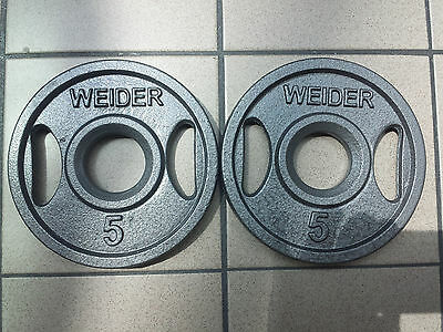 """2 BRAND NEW WEIDER OLYMPIC 5 LB GRIP PLATES! FREE SHIPPING!! W/ 2"""" HOLE"""