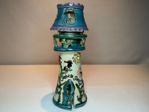 Blue Sky Clayworks 2001 Signed Heather Goldminc Seahorse Shores Candle Holder