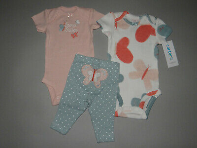 NWT, Baby girl clothes, Preemie, Carter's 3 piece set/ NEW OUT/SEE DETAILS SIZE