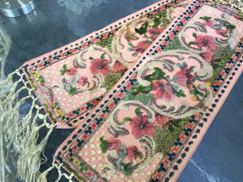 Antique Vintage Pair Italian Cut Chenille Velvet Table Runners with Pink Flowers