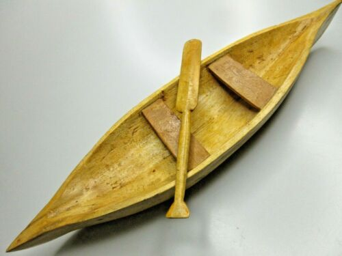 """Vintage Handcarved Wooden Canoe With Paddle Primitive Handmade Decor 16.5"""" Long"""