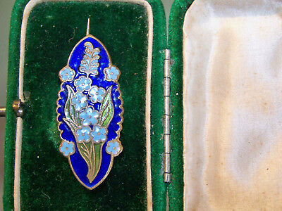 ANTIQUE JEWELLERY STUNNING CHAMPLEVE ENAMEL FORGET-ME-NOT FLOWER BROOCH PIN