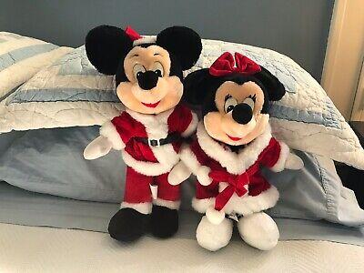 Vintage SANTA MICKEY & MINNIE MOUSE Plush Disneyland/Disney World Christmas