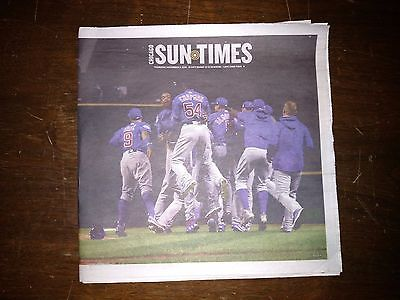 Cubs Win  Chicag Sun Times Newspaper Chicago Cubs Win 2016 World Series
