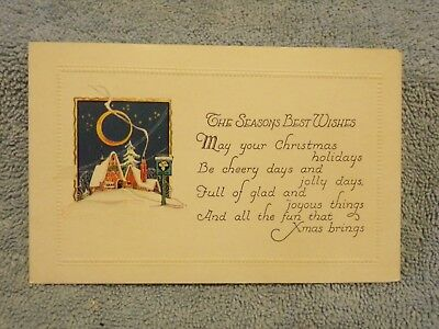 Vintage Postcard The Seasons Best Wishes Christmas Poem, Winter Scene (The Best Christmas Poems)