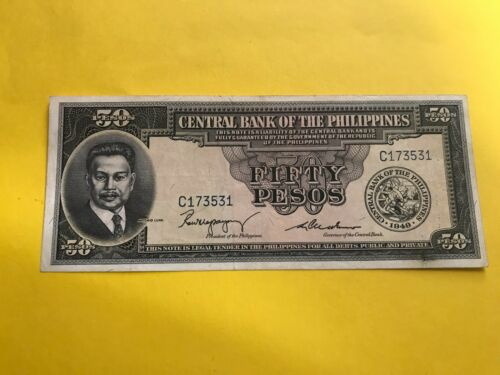 PHILIPPINES 1949 FIFTY PESO ENGLISH SERIES NOTE, MAGSAYSAY-CUADERNO P-138b scarc