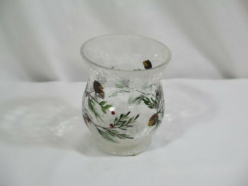 Yankee Candle Pine Cones and Berries Crackle Glass Votive Holder