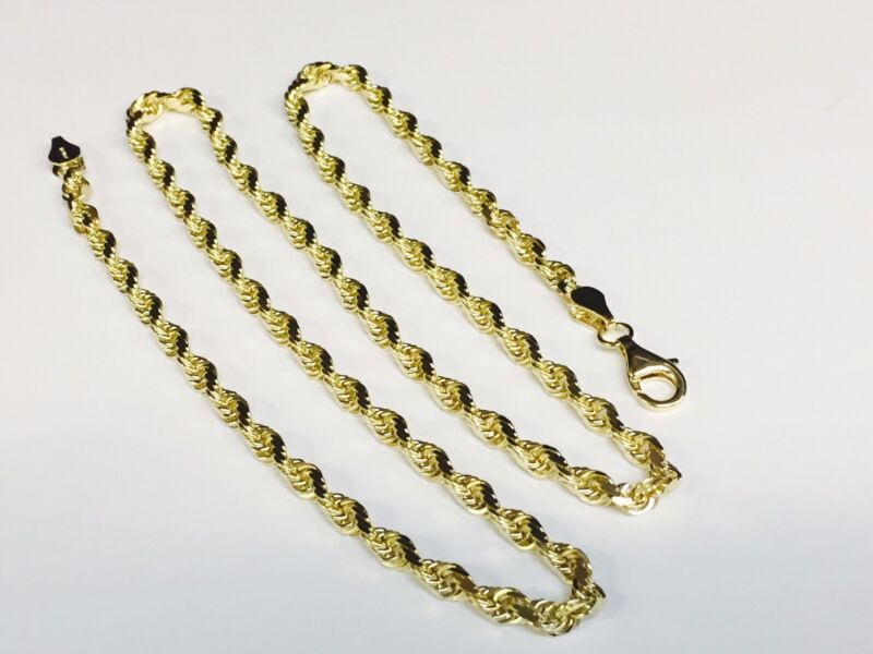 "10kt Solid Gold Diamond Cut Rope Chain Necklace 22"" 3.5 Mm 14 Grams (025rr)"