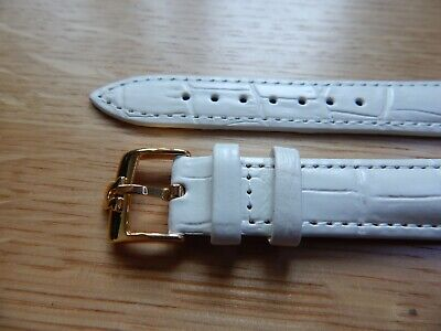 Mens 18 mm leather watch Strap Band white  with gold plated omega style buckle Leather Watch Strap Plated Buckle