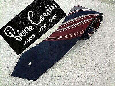"""VINTAGE PIERRE CARDIN Tie Dark Blue Twill w/ STRIPES PC Logo Skinny 3"""" x 54"""""""