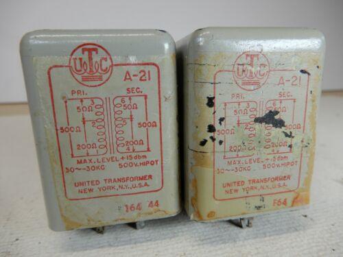 UTC A-21 Audio Input Transformers Qty 2 Used Pair