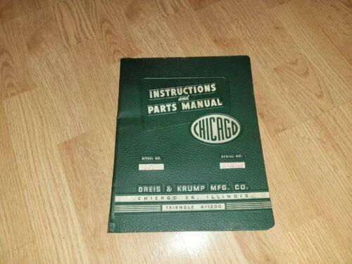 Chicago Dries & Krump Model #68L Press Brake Manual